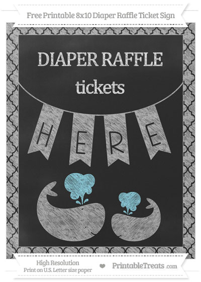 Free Pastel Light Grey Moroccan Tile Chalk Style Baby Whale 8x10 Diaper Raffle Ticket Sign
