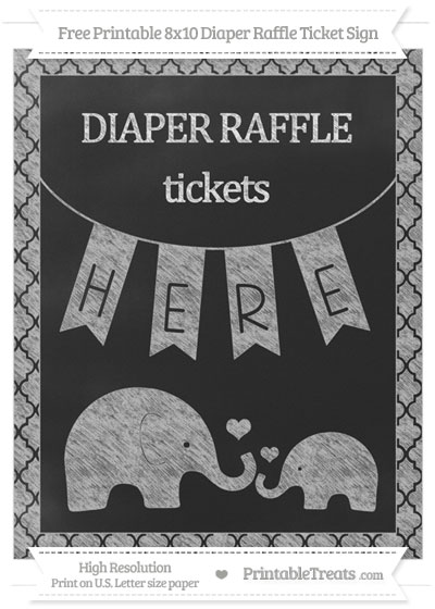 Free Pastel Light Grey Moroccan Tile Chalk Style Elephant 8x10 Diaper Raffle Ticket Sign