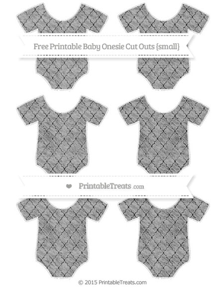 Free Pastel Light Grey Moroccan Tile Chalk Style Small Baby Onesie Cut Outs