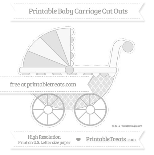 Free Pastel Light Grey Moroccan Tile Extra Large Baby Carriage Cut Outs