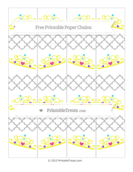 Free Pastel Light Grey Moroccan Tile Princess Tiara Paper Chains