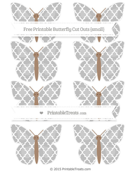 Free Pastel Light Grey Moroccan Tile Small Butterfly Cut Outs