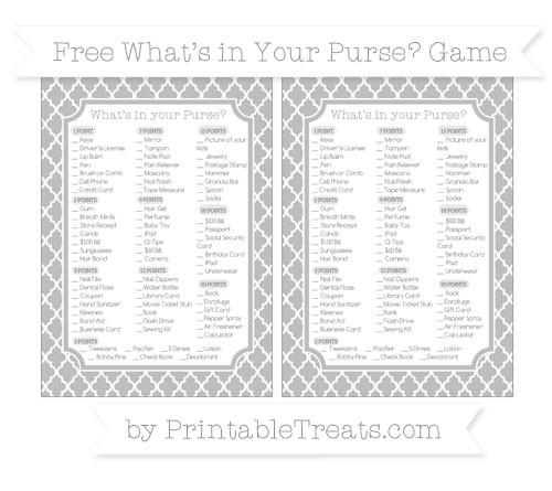 Free Pastel Light Grey Moroccan Tile What's in Your Purse Baby Shower Game