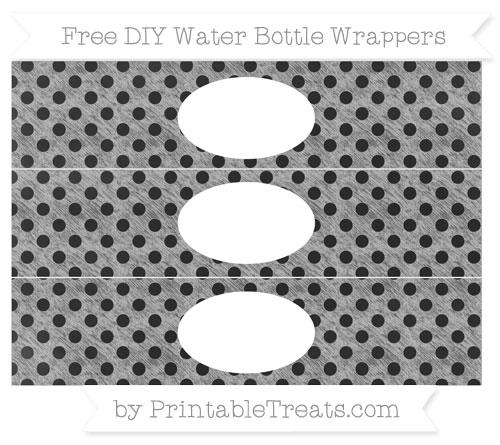 Free Pastel Light Grey Polka Dot Chalk Style DIY Water Bottle Wrappers