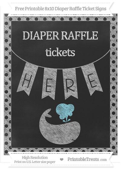 Free Pastel Light Grey Polka Dot Chalk Style Whale 8x10 Diaper Raffle Ticket Sign