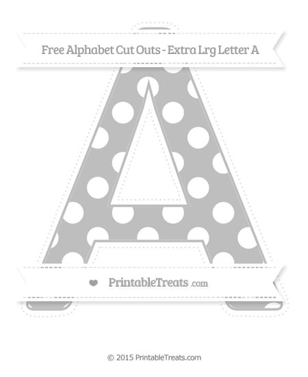 Free Pastel Light Grey Polka Dot Extra Large Capital Letter A Cut Outs