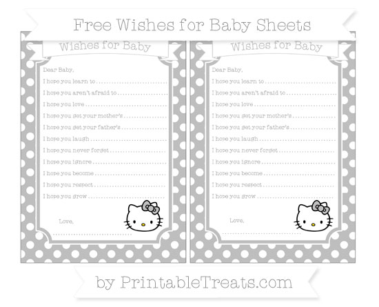 Free Pastel Light Grey Polka Dot Hello Kitty Wishes for Baby Sheets