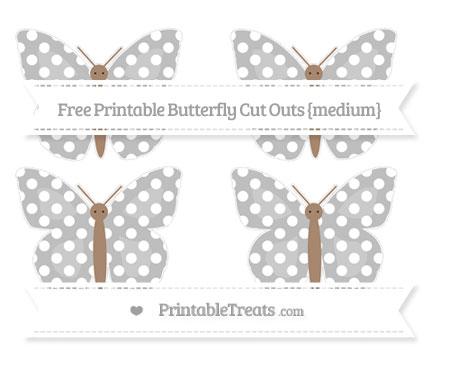 Free Pastel Light Grey Polka Dot Medium Butterfly Cut Outs