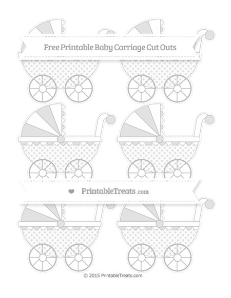 Free Pastel Light Grey Polka Dot Small Baby Carriage Cut Outs