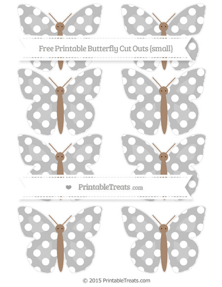 Free Pastel Light Grey Polka Dot Small Butterfly Cut Outs