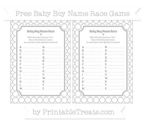 Free Pastel Light Grey Quatrefoil Pattern Baby Boy Name Race Game