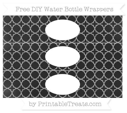 Free Pastel Light Grey Quatrefoil Pattern Chalk Style DIY Water Bottle Wrappers