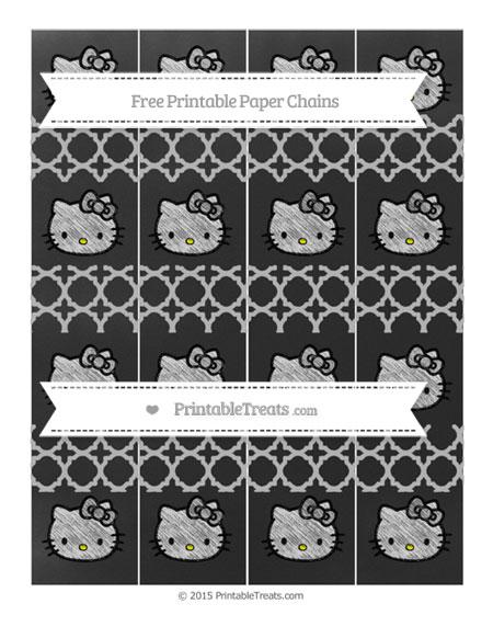 Free Pastel Light Grey Quatrefoil Pattern Chalk Style Hello Kitty Paper Chains