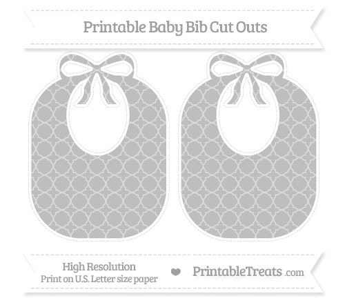 Free Pastel Light Grey Quatrefoil Pattern Large Baby Bib Cut Outs