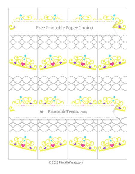 Free Pastel Light Grey Quatrefoil Pattern Princess Tiara Paper Chains