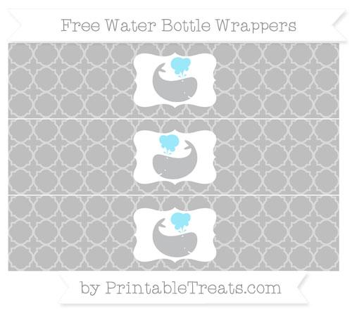 Free Pastel Light Grey Quatrefoil Pattern Whale Water Bottle Wrappers