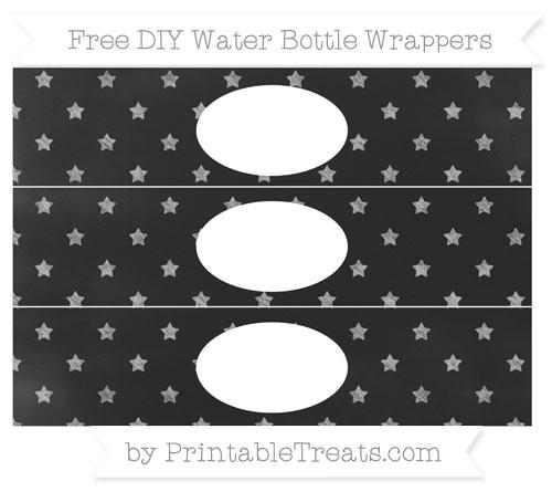 Free Pastel Light Grey Star Pattern Chalk Style DIY Water Bottle Wrappers