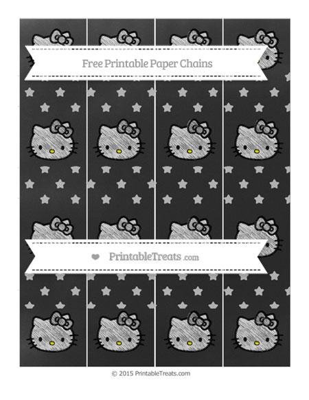 Free Pastel Light Grey Star Pattern Chalk Style Hello Kitty Paper Chains