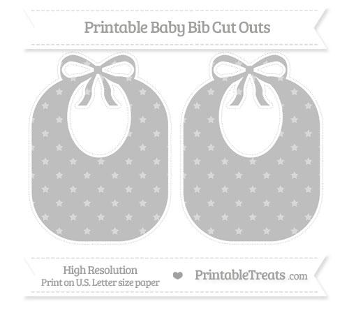 Free Pastel Light Grey Star Pattern Large Baby Bib Cut Outs