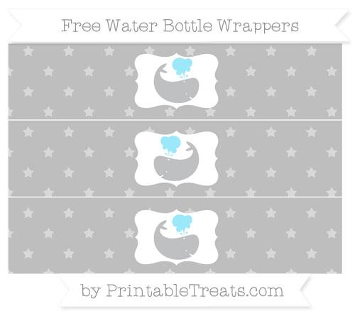 Free Pastel Light Grey Star Pattern Whale Water Bottle Wrappers
