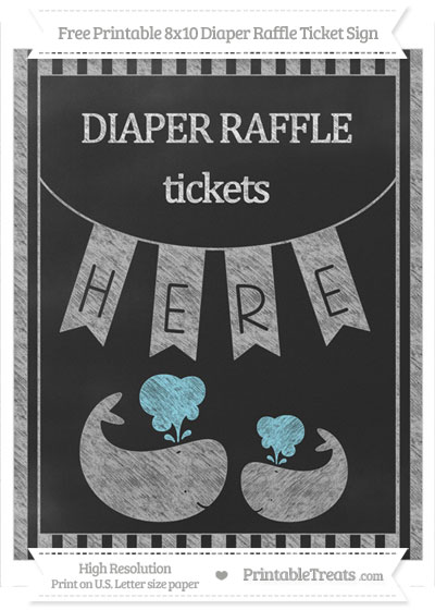Free Pastel Light Grey Striped Chalk Style Baby Whale 8x10 Diaper Raffle Ticket Sign