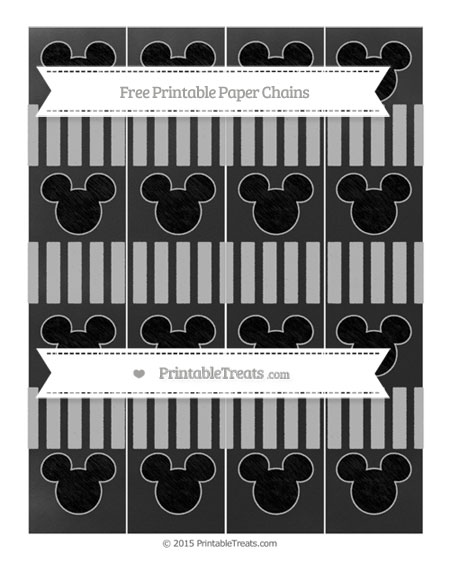 Free Pastel Light Grey Striped Chalk Style Mickey Mouse Paper Chains