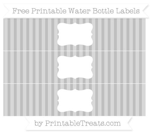Free Pastel Light Grey Striped Water Bottle Labels
