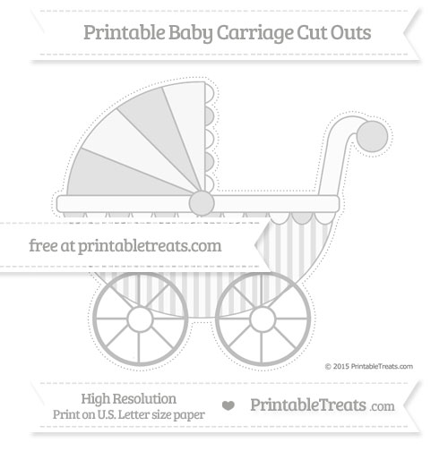 Free Pastel Light Grey Striped Extra Large Baby Carriage Cut Outs