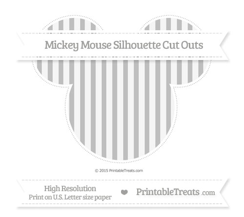 Free Pastel Light Grey Striped Extra Large Mickey Mouse Silhouette Cut Outs