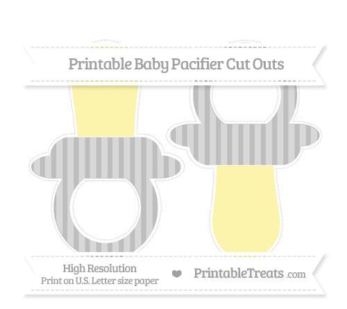 Free Pastel Light Grey Striped Large Baby Pacifier Cut Outs