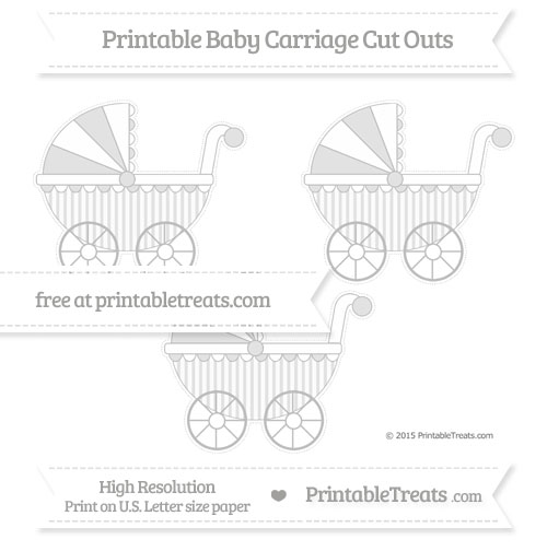 Free Pastel Light Grey Striped Medium Baby Carriage Cut Outs