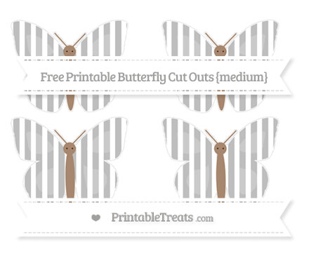 Free Pastel Light Grey Striped Medium Butterfly Cut Outs
