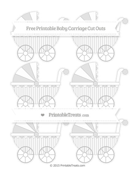 Free Pastel Light Grey Striped Small Baby Carriage Cut Outs