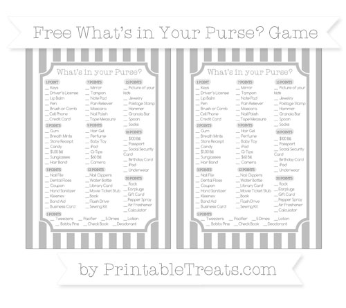 Free Pastel Light Grey Striped What's in Your Purse Baby Shower Game
