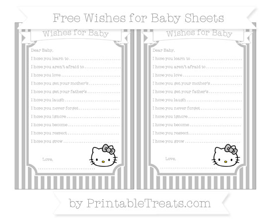 Free Pastel Light Grey Thin Striped Pattern Hello Kitty Wishes for Baby Sheets