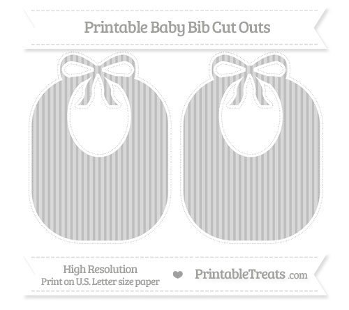 Free Pastel Light Grey Thin Striped Pattern Large Baby Bib Cut Outs