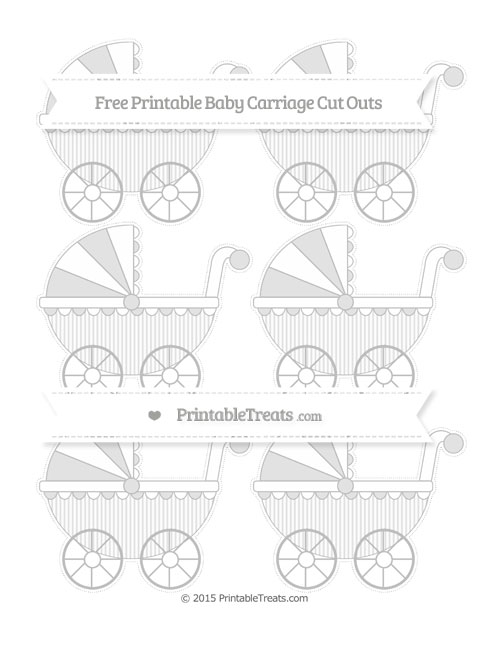 Free Pastel Light Grey Thin Striped Pattern Small Baby Carriage Cut Outs