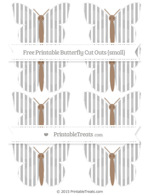 Free Pastel Light Grey Thin Striped Pattern Small Butterfly Cut Outs