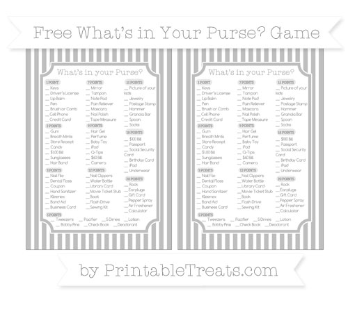 Free Pastel Light Grey Thin Striped Pattern What's in Your Purse Baby Shower Game