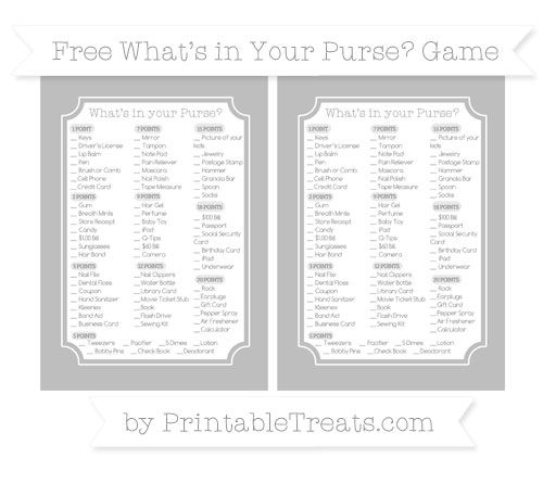 Free Pastel Light Grey What's in Your Purse Baby Shower Game