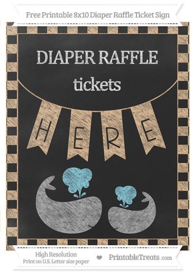 Free Pastel Light Orange Checker Pattern Chalk Style Baby Whale 8x10 Diaper Raffle Ticket Sign