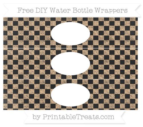 Free Pastel Light Orange Checker Pattern Chalk Style DIY Water Bottle Wrappers