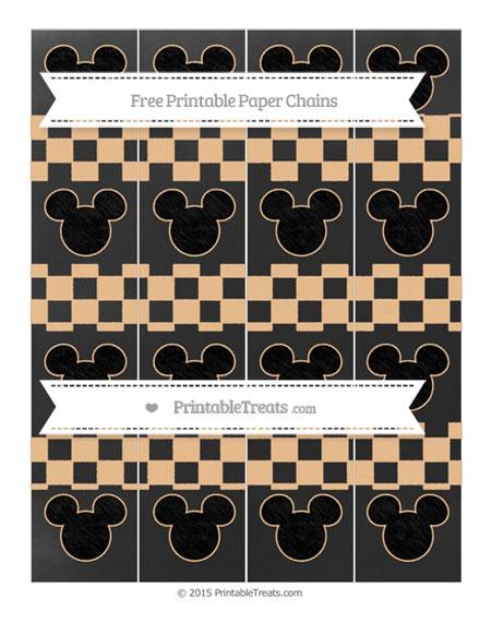 Free Pastel Light Orange Checker Pattern Chalk Style Mickey Mouse Paper Chains