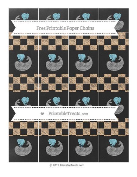 Free Pastel Light Orange Checker Pattern Chalk Style Whale Paper Chains