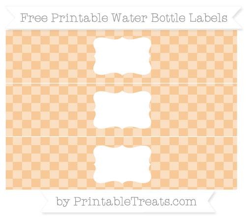 Free Pastel Light Orange Checker Pattern Water Bottle Labels