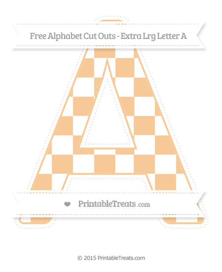 Free Pastel Light Orange Checker Pattern Extra Large Capital Letter A Cut Outs