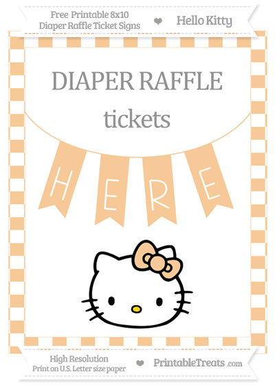 Free Pastel Light Orange Checker Pattern Hello Kitty 8x10 Diaper Raffle Ticket Sign