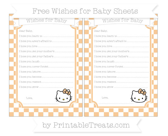 Free Pastel Light Orange Checker Pattern Hello Kitty Wishes for Baby Sheets