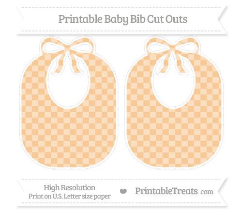 Free Pastel Light Orange Checker Pattern Large Baby Bib Cut Outs