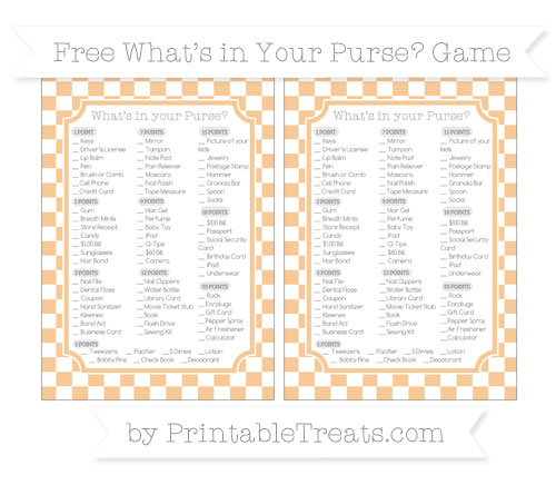 Free Pastel Light Orange Checker Pattern What's in Your Purse Baby Shower Game